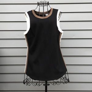 DKNYC Faux Leather\Suede Trim Sleeveless Shirt
